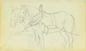 Jacek Malczewski (1854-1929), Para koni stojących w zaprzęgu z dyszlem