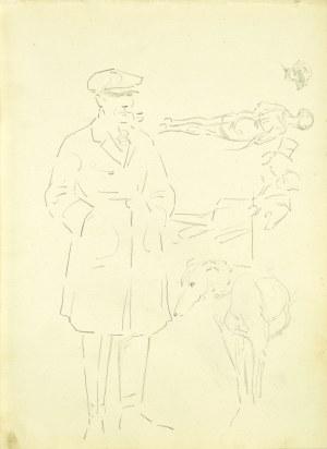 Karol Kossak (1896 - 1975), Szkice mężczyzny z psem, scenki ulicznej, 1922