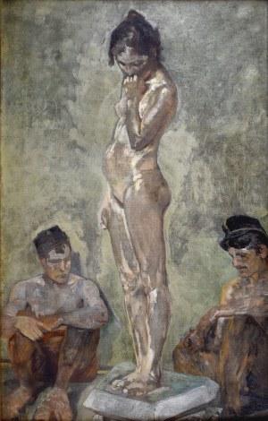 Jacek Malczewski (1854-1929), Modelka między woźnymi Akademii