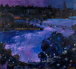 Jan Szancenbach (1928-1998), Pejzaż nocny z Paryża - Pont Neuf i Pont Des Arts, 1996