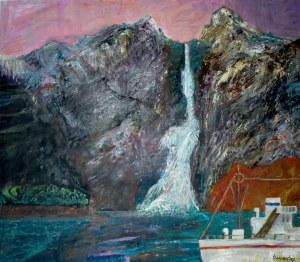 Jan Szancenbach (1928-1998), Pejzaż norweski z okrętem, 1983