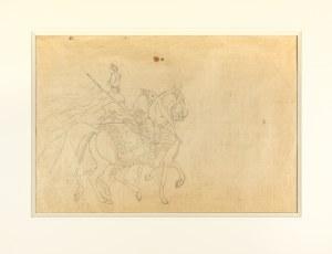 """Kossak Juliusz, Z rozkazu króla mam oddać tę zbroję i konia z rzędem, z cyklu """"Mohort"""" W. Pola (fragment kompozycji), 1882"""