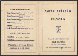 Łódź, Karta kolorów i cennik Wytwórni Chemicznej Biel-Tennis