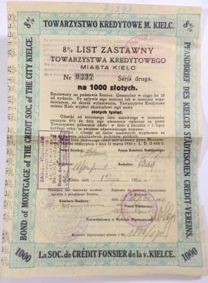 List Zastawny Towarzystwa Kredytowego Miasta Kielc