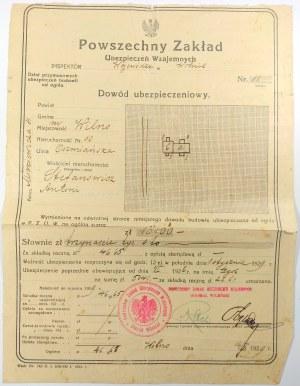 Polisa Ubezpieczeniowa, Wilno 1929
