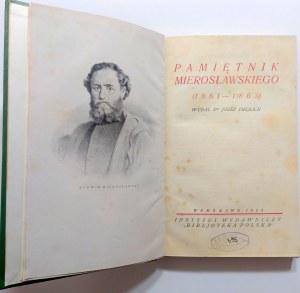 Pamiętnik Mierosławskiego (1861-1863 ) Czasy i Ludzie, 1924