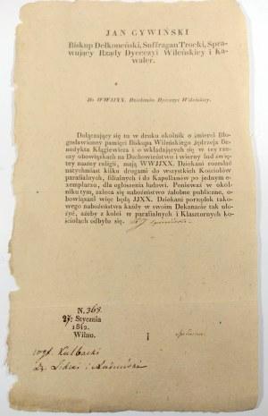 Odezwa drukowana Biskupa Wileńskiego Jana Cywińskiego z dn. 27.I.1842r.