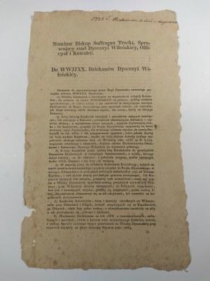 Odezwa drukowana Biskupa Wileńskiego Jana Cywińskiego z dn. 18.IX.1842r..