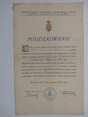Kraków, Uroczystości pogrzebowe J.Słowackiego 1927 r. Podziękowanie prezydenta miasta