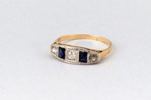 Pierścionek z brylantami i szafirami art deco, lata 20./30. XX wieku złoto 750/1000/ diamenty/szafiry