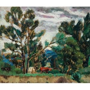 Stanisław Borysowski (1901 Lwów - 1988 Toruń), Pejzaż z krowami, 1930 r.