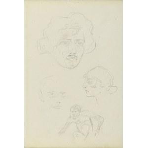 Karol Kossak (1896-1975), Szkice głów mężczyzn i kobiety oraz postaci małpy, 1922