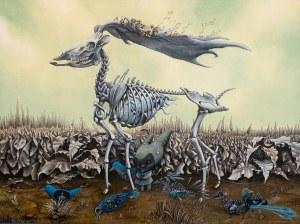 Anna Sokolska (ur. 1971), Spacer z niebieskimi ptakami, 2020