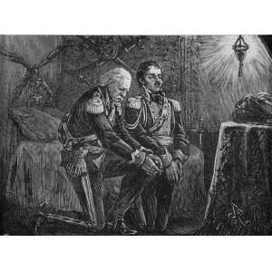 Juliusz Kossak (1824-1899), Nocna modlitwa Szymona Mohorta z Ksawerym Krasickim przed poranną mszą świętą