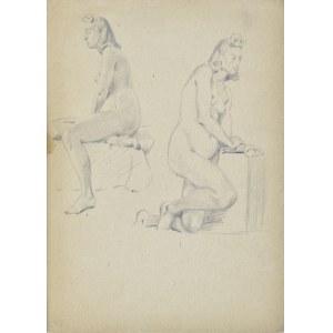 Ludwik Antoni Maciąg (1920-2007), Studia aktu kobiety w dwóch pozach: siedzący akt kobiety i klęczący akt kobiety