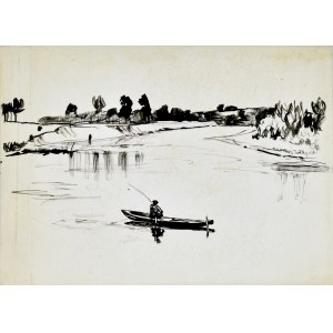 Ludwik Antoni Maciąg (1920-2007), Pejzaż z rzeką i rybakiem na łodzi łowiącym ryby