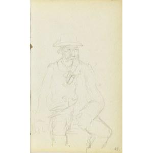 Jacek Malczewski (1854-1929), Starzec z fajką siedzący na ławce