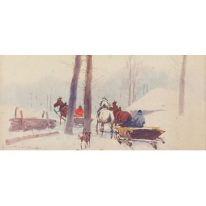 Adam SETKOWICZ (1876-1945), Zwózka drewna