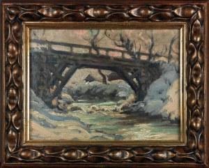 Józef PIENIĄŻEK (1888-1953), Pejzaż zimowy z rzeką i mostem
