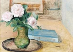 Irena WEISS - ANERI (1888-1981), Kwiaty w wazonie i książka