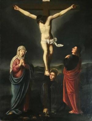 Malarz nieokreślony, XIX w., Matka Boża, Maria Magdalena i Jan Chrzciciel pod krzyżem