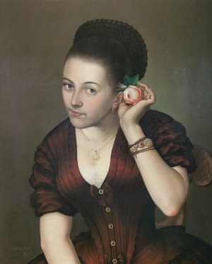 Józef BUDZYŃSKI, XIX W., Portret kobiety z różą, 1850