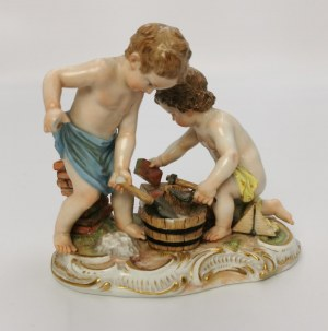 Miśnia, Königliche Porzellanmanufaktur, Grupa figuralna - dwa putta jako murarze (Amoretten als Maurer)