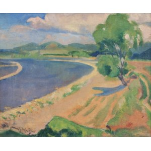 Tymon Niesiołowski (1882-1965), Pejzaż z rzeką, 1909