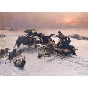 Alfred Wierusz-Kowalski (1849 Suwałki - 1915 Monachium), Napad wilków, 1885-1890