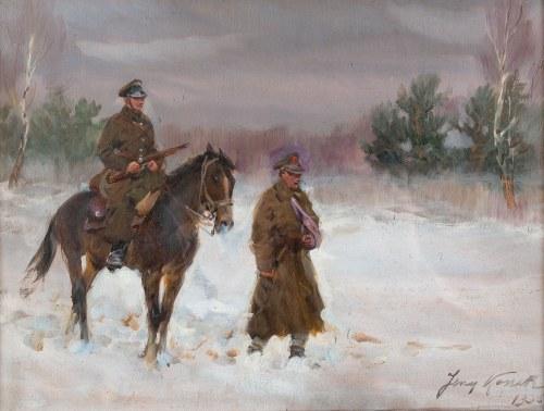 Jerzy Kossak (1886 Kraków - 1955 tamże), Patrol ułański, 1935 r.