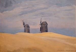 Stanisław Czajkowski (1878 Warszawa - 1954 Sandomierz), Pejzaż z wiatrakami, 1930 r.