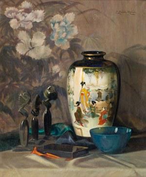 Elisabeth Stechele-Mauer (1885-przed 1958), Martwa natura z balijskimi statuetkami i wazą Meiji