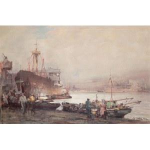 Marian Mokwa (1889 Malary - 1987 Sopot), Pejzaż portowy