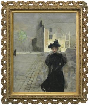 Axentowicz Teodor, Samotna w mieście. Paryżanka, 1887