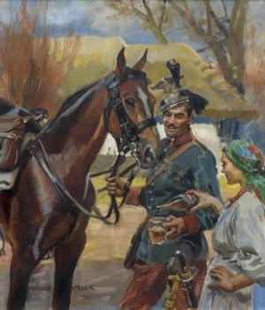 Kossak Wojciech, UŁAN I DZIEWCZYNA, 1912