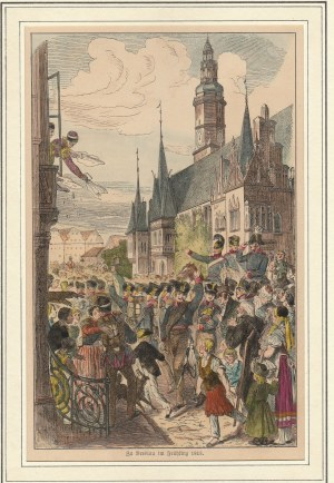 WROCŁAW. Żołnierze pruscy entuzjastycznie witani przez mieszczan wrocławskich wiosną 1813 r. na rynk...