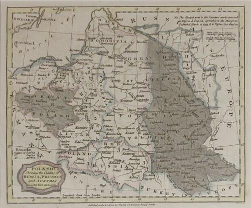 POLSKA, LITWA. Mapa Polski przedstawiająca jej podział po II rozbiorze