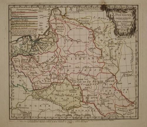 POLSKA. Mapa ziem polskich po I rozbiorze