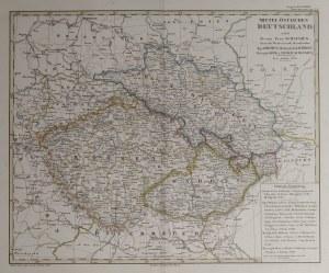 ŚLĄSK, KSIĘSTWO BIELSKIE, CZECHY, MORAWY. Mapa Czech i Moraw z częścią Śląska