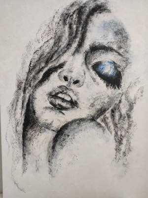 Dorota Kołakowska, Kuszenie, 2020 r., akryl na płótnie, 60 x 80 cm, sygnatura na odwrocie