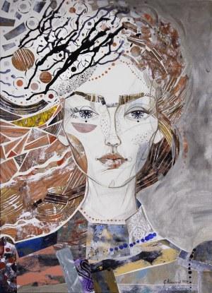 Gabriela Krawczyk, Niespokojny wiatr, 2020r., akryl, kolaż na płótnie, 70 x 50cm, sygn.p.d