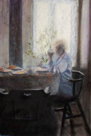 Zbigniew Bogucki, Śniadanie Alicji, 2011r, pastel suchy na tekturze, 90 x 60 cm, sygn.l.d
