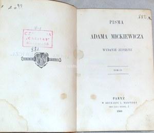 MICKIEWICZ- PAN TADEUSZ T.1-2 [komplet w 2 wol.] Paryż 1860