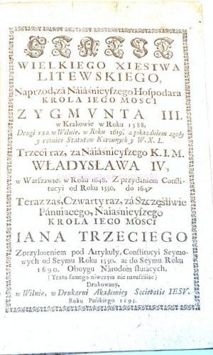 STATUT WIELKIEGO XIĘSTWA LITEWSKIEGO wyd. 1693
