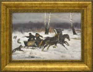 Jerzy Kossak, Napad wilków, 1905