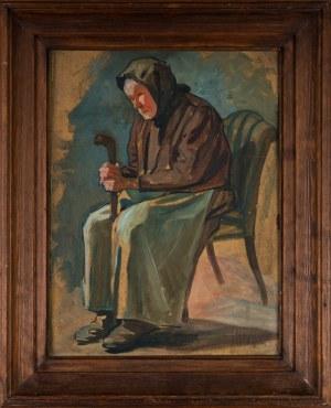 Nierozpoznany Autor, Stara kobieta z laską