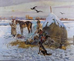 Jerzy KOSSAK (1886 Kraków - 1955 Kraków), Odwrót spod Moskwy, 1937