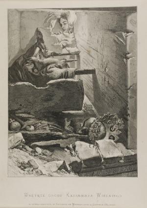 Jan MATEJKO (1838-1893) Jan STYFI (1839-1821), Wnętrze grobu Kazimierza Wielkiego po odkryciu