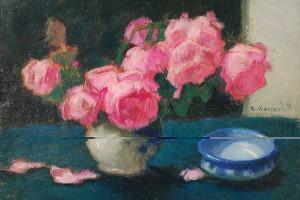 Alfons KARPIŃSKI (1875-1961), Róże i niebieska miseczka