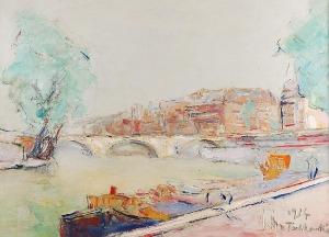 Włodzimierz TERLIKOWSKI (1873-1951), Pejzaż z mostem, 1934